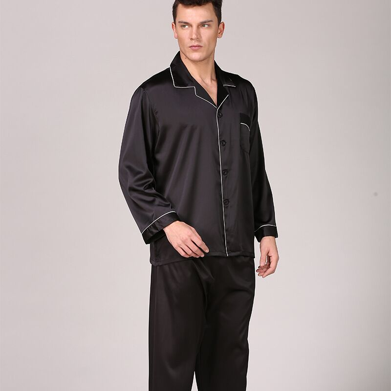 Men's Stain Silk Pajama Set Men Pajamas Silk Sleepwear Satin Nightwear Pijama Masculino Plus Size Homewear Pyjamas Homme 3XL