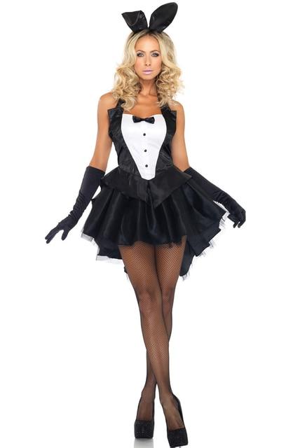 de2603584 Sexy Bunny Costume Dress + Luvas + Hairwear Ladies Halloween Costume  Fantasia Magician Swallow-tailed