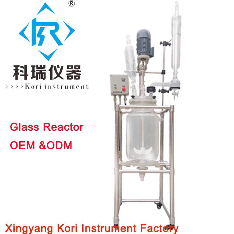 OEM&ODM order! Explosion proof jacketed chemical reactor 20L double-neck Glass Reaction vessel for lab distillation stirring motor driven single deck chemical reactor 20l glass reaction vessel with water bath 220v 110v with reflux flask