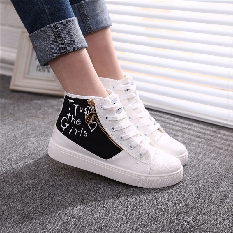 Flat High Top Canvas Women Shoes 17 Colors Spring Autumn Women's Flats Espadrilles Lace Up Casual Shoes Foot 22-24.5CM YD87 (24)