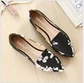 2017 Мода печать острым носом мокасины женщины плоский каблук обувь повседневная обувь женщина Плюс размер 33-43