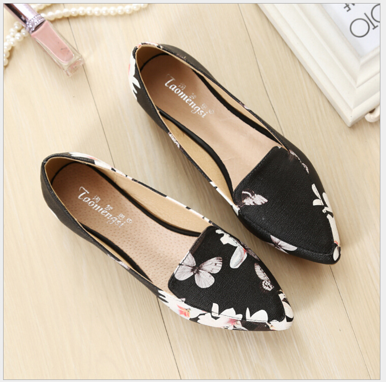 2017 Fashion printing pointed toe loafers women flat heel shoes casual shoe woman Plus size 33-43 2017 fashion printing pointed toe loafers women flat heel shoes casual shoe woman plus size 33 43