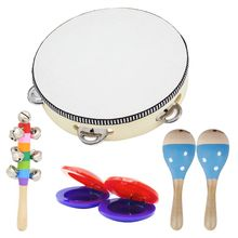 OOTDTY Wooden Musical Toys 2 Maracas 1 Tambourine Castanets Hand Bell for Toddler Kids