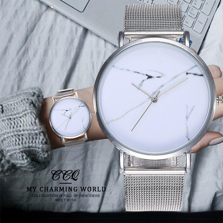 New CCQ Brand Popular Stainless Steel Mesh Band Creative Marble Dial Quartz Personality Watch Women Simple Watch Drop Shipping bgg brand creative two turntables dial women men watch stainless mesh boy girl casual quartz watch students watch relogio