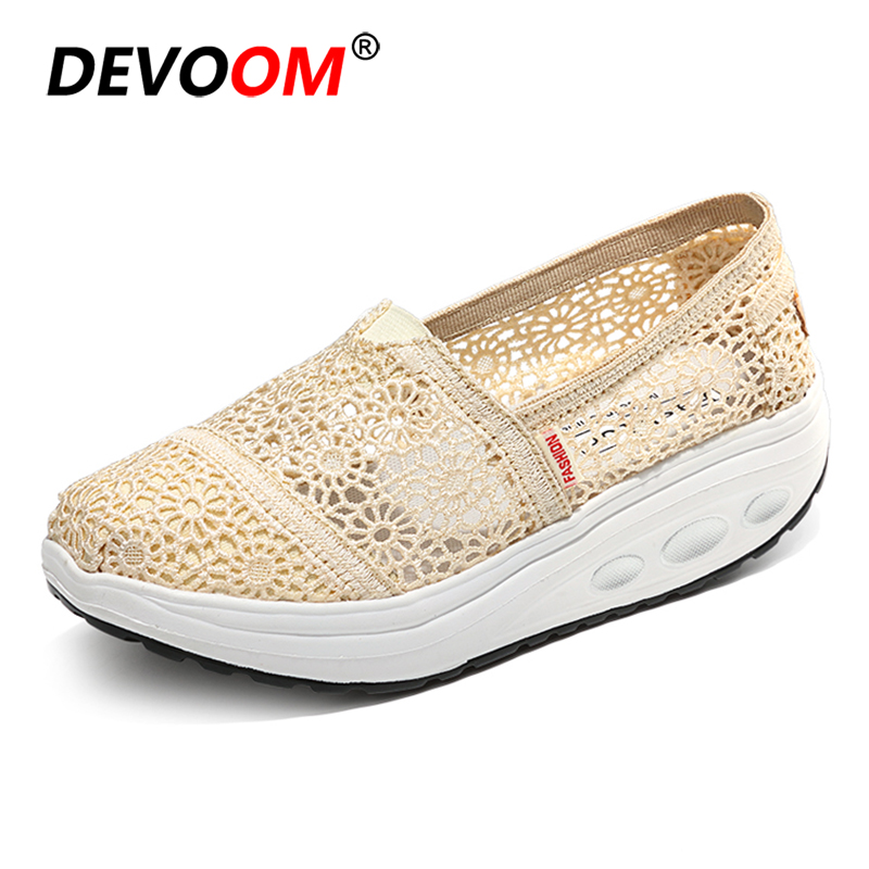 2018 Fashion Women Lace Shoes Air Mesh+Height Increasing Soft Wedges Swing Sole Summer Womens Shoes Casual Sexy Ladies Footwear 2018 women fashion diamond casual shoes summer slip on breathable mesh shoes woman comfort soft white sole footwear crystal flat