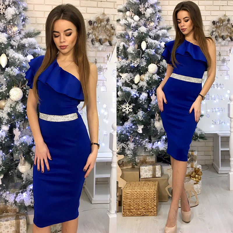One Shoulder Slope Sleeveless High Waist Bodycon Dresses 2019 New Arrival Women Patchwork Ruffle Sexy 4 Color Party Dress