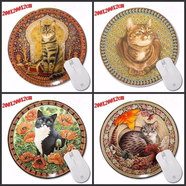 Persian Cat On The Persian Carpet Custom Made Computer Notebook Round Mouse  Mat High Quality Rubber