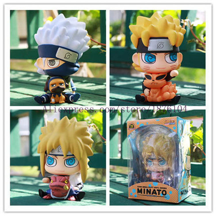Naruto Action Figure Piggy Bank Kakashi Namikaze Minato Toys Figurines Naruto Piggy Bank naruto action figure hatake kakashi flash power rock scene diy set naruto shippuden hatake kakashi model toy kakashi diy180