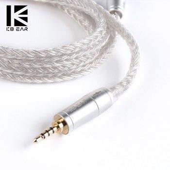 KBEAR 16 çekirdekli yükseltilmiş gümüş kaplama dengeli kablo 2.5/3.5/4.4MM ile MMCX/2pin/QDC konnektör KZ ZS10 ZSN PRO ZSX C12 BA5