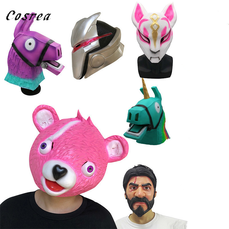 Fortnight Mask Toy Team Leader Cosplay Funny Animal pink bear foxy Latex Mask Cosplay Costume Halloween Party Prop kids gift toy