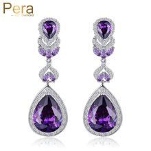 Pera Brand Luxury Women Party CZ Stone Silver Color Jewelry Big Pear Cut Drop Purple Long Dangle Cubic Zirconia Earrings E223