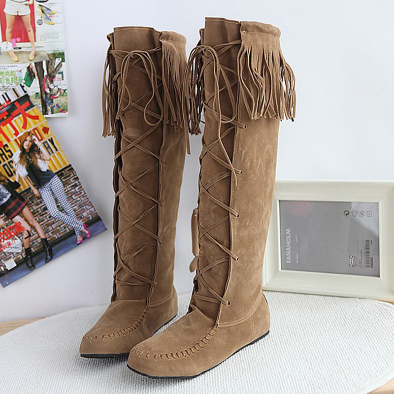 ФОТО size 34-43 New fashion women boots tassel Suede slip-on flat boots knee high boots women 2016