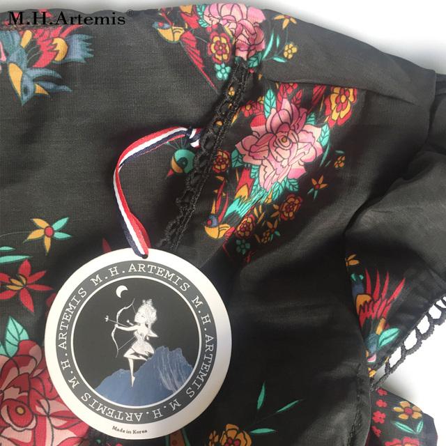M.H.Artemis Women Boho Ethnic Folk Print Elastic Waist Women Retro Vintage Vestidos Bohemian Hippie Dress Robe Vestidos Mujer
