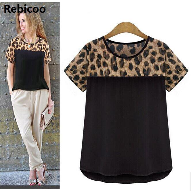 2018 Leopard Print Chiffon Blouse Women Blouses Tops Blusas Femininas Female Shirt Ladies