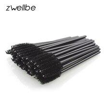 zwellbe New Good Quality Disposable 50 Pcs/Pack Eyelash Eye Lash Makeup Brush Mini Mascara Wands Brush Eyelash Extension Tool