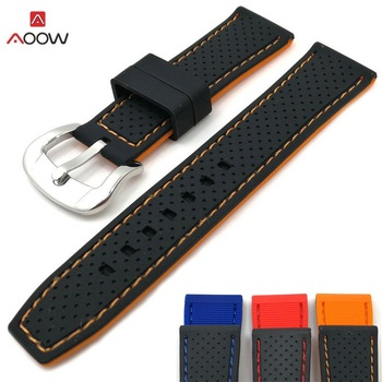 20mm 22mm 24mm Generic Watchband Silicone Rubber Watch Strap Band  Waterproof Belt Accessories