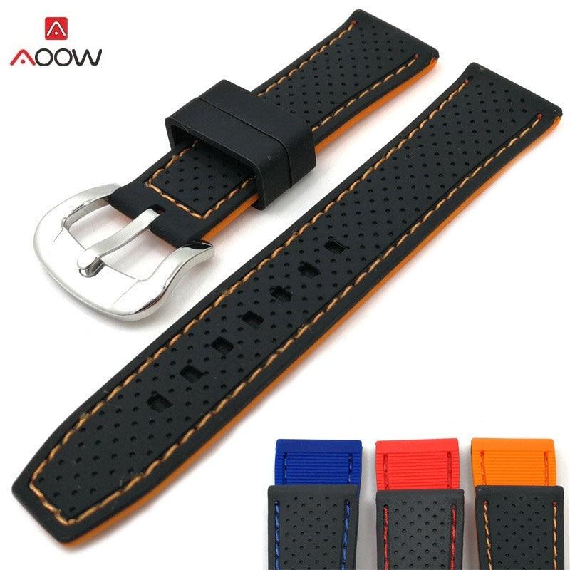 AOOW 2018 nouveau bracelet de montre générique en caoutchouc de Silicone bandes de bracelet de montre 20mm 22mm 24mm étanche bracelet de montre accessoires de ceinture