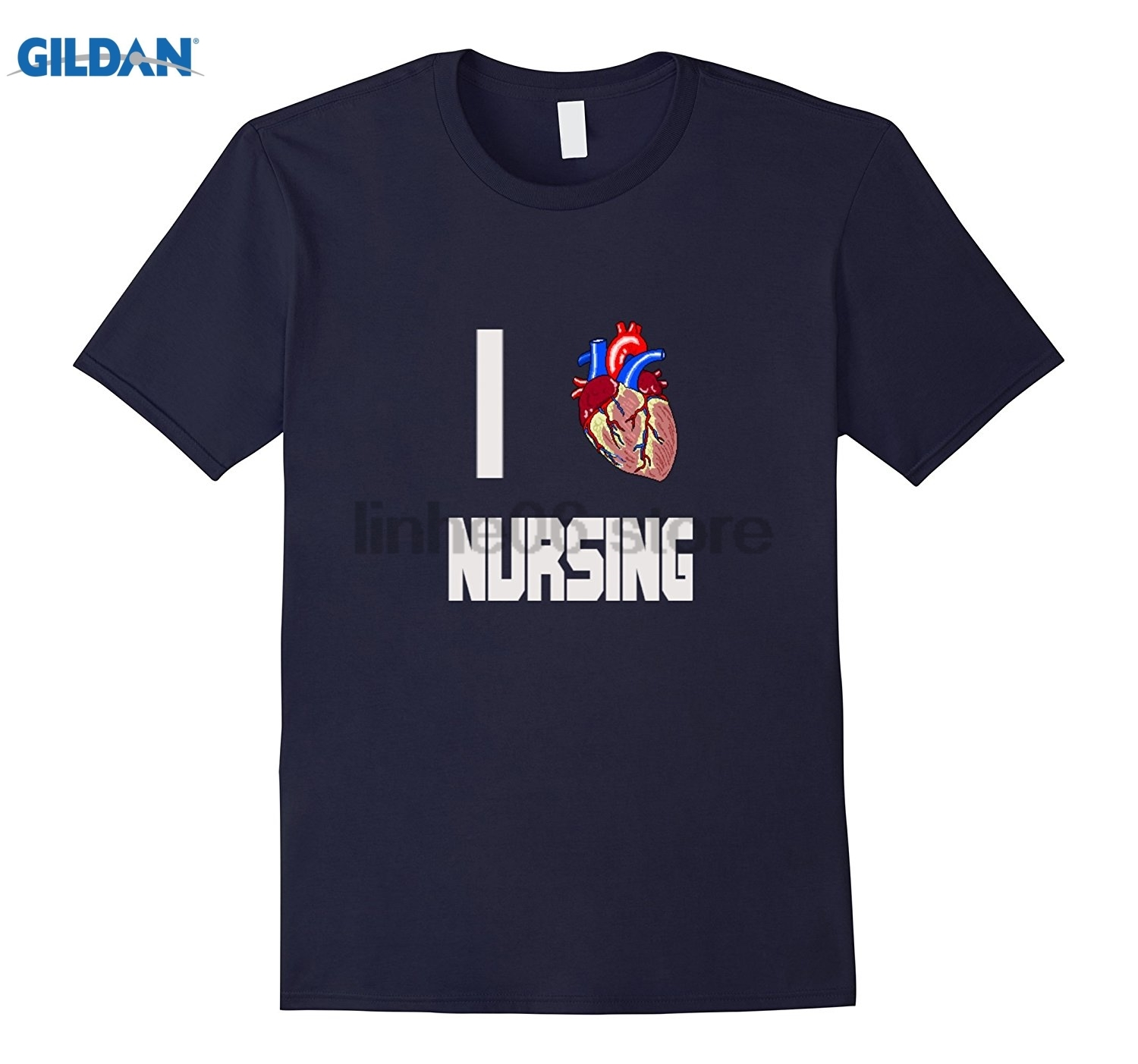 GILDAN I LOVE NURSING MEDICAL HUMOR HUMAN HEART T-SHIRT Asian size T-shirt Dress female T-shirt