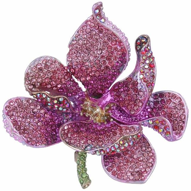 Tuliper брошь orquídea las mujeres Broche flor Broche mujer Pin para solapa con insignia colgante de cristal Rosa joyería de fiesta de аксессуары Kpop de moda