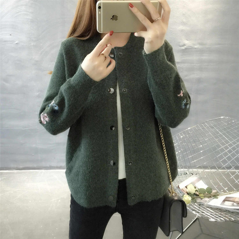 Hitz 2017 Корейская трикотажная рубашка с длинными рукавами и круглым воротником свитер с карманами и вышивкой пальто толстое