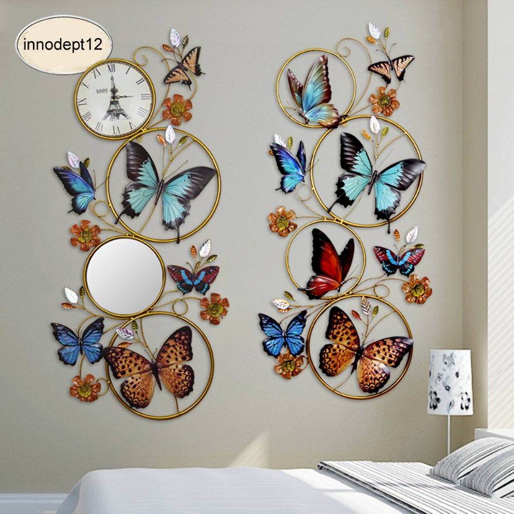 Collections papillon et Floral métal printemps Art mural décor, fer papillon 3D mur autocollant décor avec horloge pour la maison