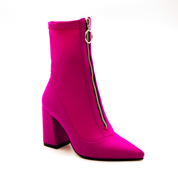 2018 Autumn New Lycra Women Boots Pointed Toe Square Heel Shoes Woman Fashion Bota Feminina Ankle boots Black purple rose red 3