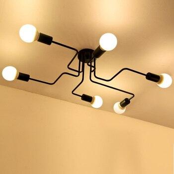 6 Cabeças de Ferro forjado Vários Haste Cúpula Teto Lâmpada E27 Personalidade Criativa Retro Sala de estar Sala De Jantar Teto Luz CL195