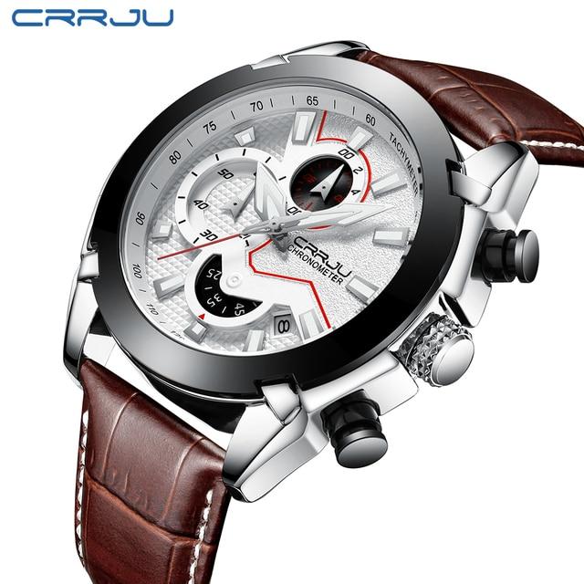 2018 CRRJU Mannen Horloge Mannelijke Lederen Automatische datum Quartz Horloges Heren Luxe Merk Waterdichte Sport Klok Relogio Masculino
