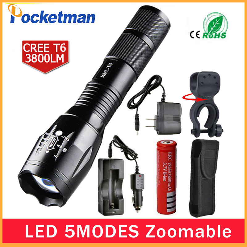Newest 100% Authentic 3800 Lumens 5-Mode CREE XM-L T6 LED Flashlight Zoomable rechargeable Focus Torch by 1*18650 or 3*AAA z92 rechargeable led flashlight e17 4800 lumens 5 mode cree xm l t6 flash light zoomable focus torch by 1 18650 or 3 aaa