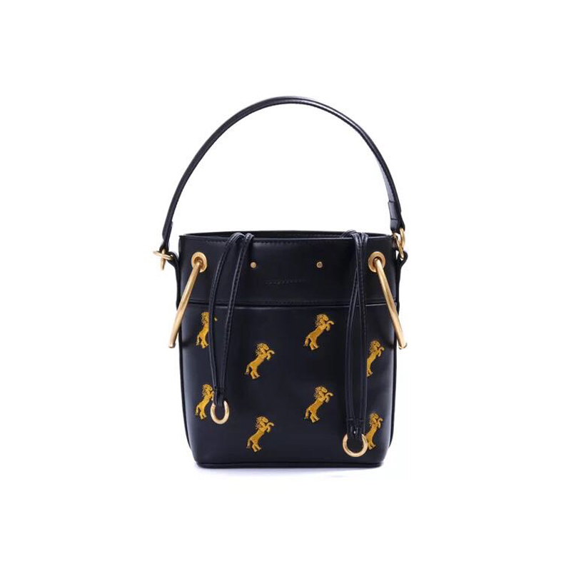 Autumn And Winter Ring Metal Contrast Color Pony Embroidery Genuine Leather Bucket Bag Handbag For Women Bolsa