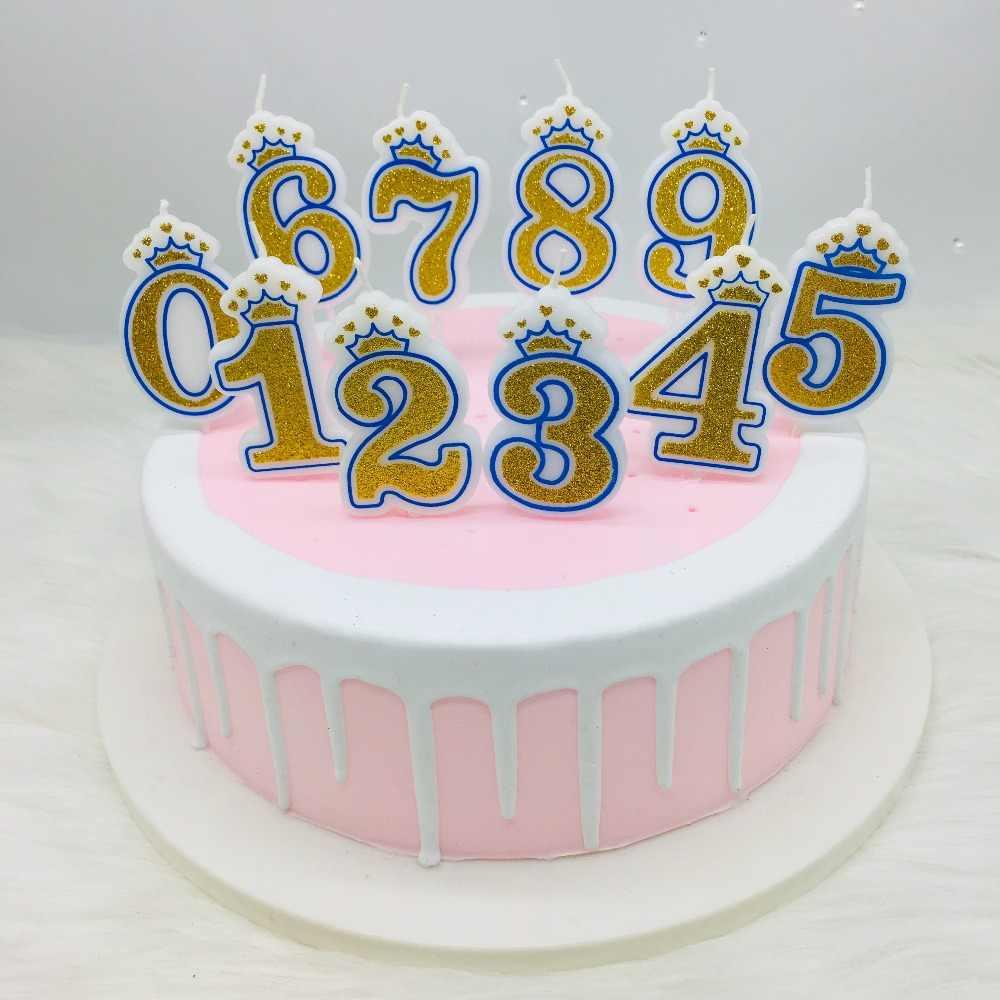 شموع عيد ميلاد تاج ذهبي لامع لامع للأطفال رقم حفلة عيد ميلاد شمعة 0 9 ديكور الكيك الشموع Aliexpress