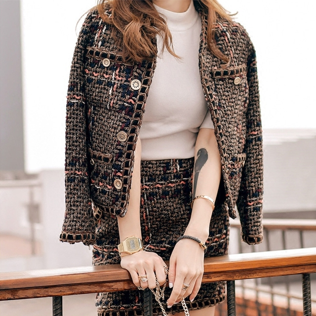 2017 designer cc brand tweed blazer+high waist A-line skirt 2pcs outfit clothing set runway metallic weave slim woolen cc jacket