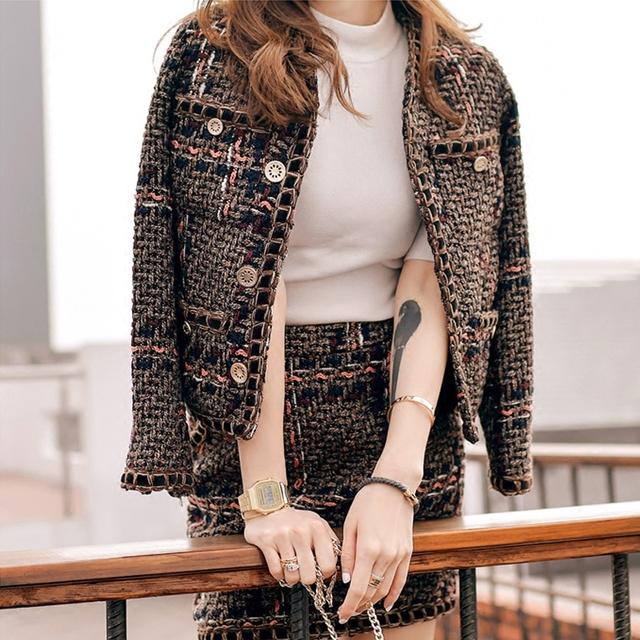 2017 diseñador de la marca cc chaqueta de tweed + cintura alta falda de Una Línea 2 unids ropa traje set runway metálico tejido delgado lana chaqueta cc
