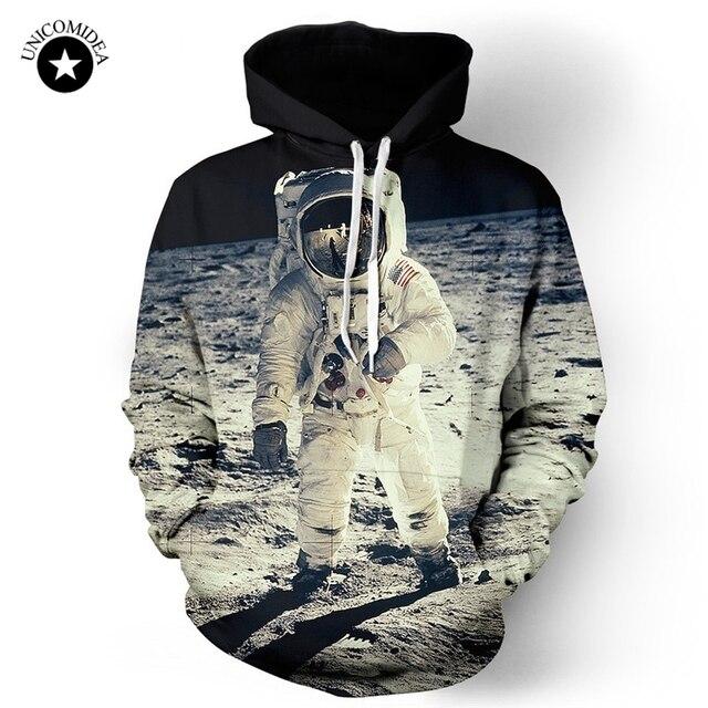 Casual astronauta espacio Galaxy Sudaderas hombres mujeres Jerséis Sudadera  con capucha moda manga larga Luna aterrizaje. Sitúa el cursor encima para  ... a511d7c143f