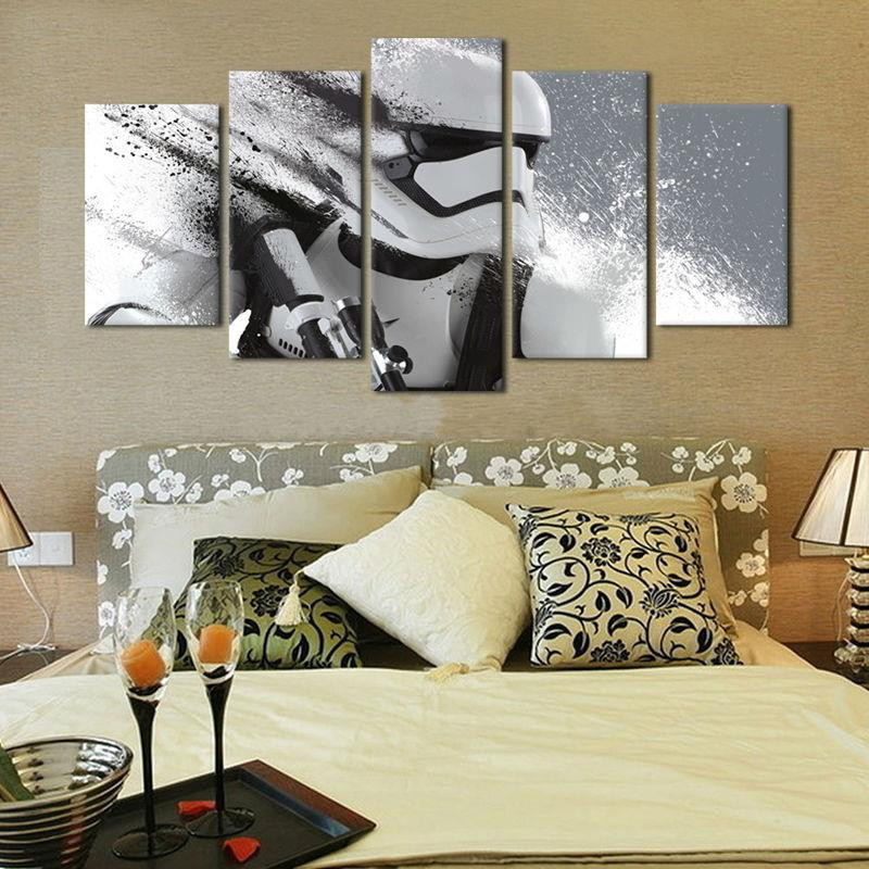 Us 27 0 Toile 5 Piece Stormtrooper Film Affiche Toile Peinture Mur Photos Pour Salon Decoratif Impression In Painting Calligraphy From Home