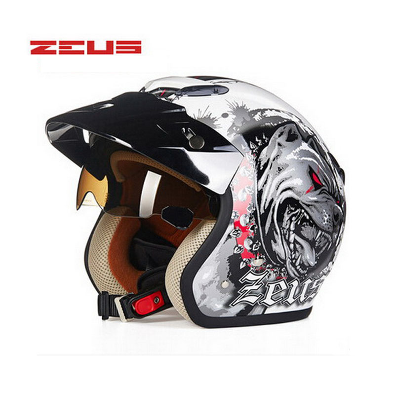 Safety electric brand DOT ZEUS ZS-381c dog 3/4 open face motorcycle helmet Lining unpick wash,motorbike scooter helmet M 3XL
