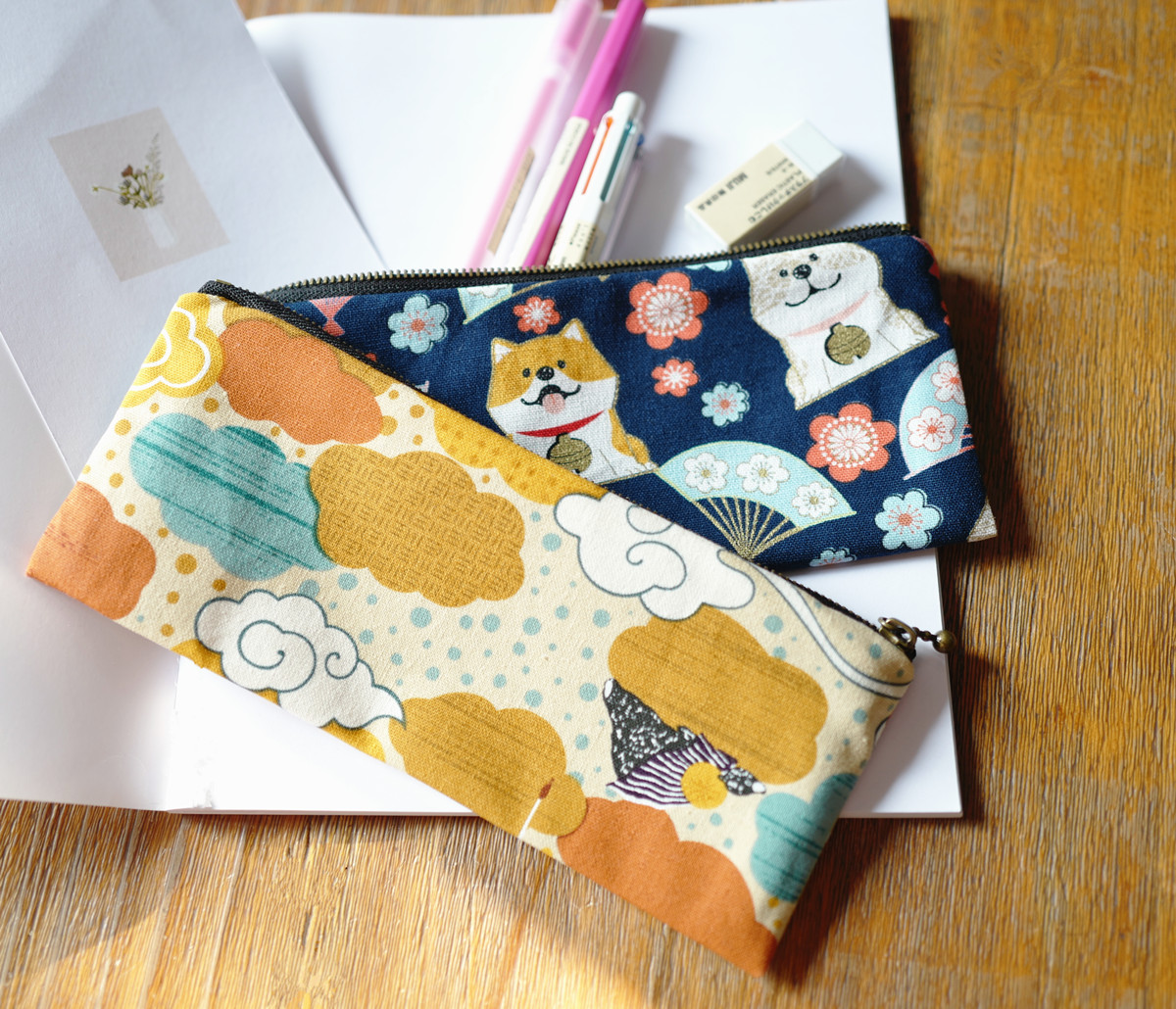 Little Paris Handmade Japanese Style Kids Purse Coin Purse Pencil Case Cute Shiba Inu Lucky Cat Fabric Storage Pen Bag