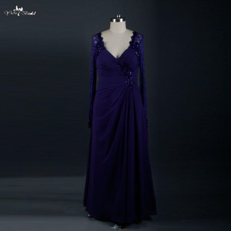RSE615 bordeaux manches longues violet mère de la mariée robes robes de soirée mère marié