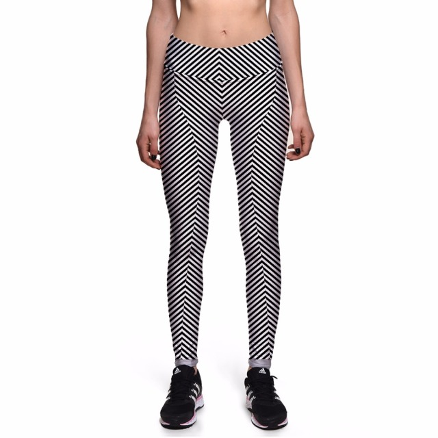NEW 0019 Fashion Sexy Girl Women Black Twill Striped 3D Prints High Waist Workout Fitness Leggings Pants Plus Size
