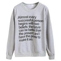 Sweatshirt Women Long Sleeve Round Neck Letter Print Casual Loose Autumn Pullover Sweatershirt