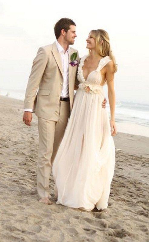 New Tailor Made Beige Linen Groom Tuxedos Slim Fit Mens Beach ...
