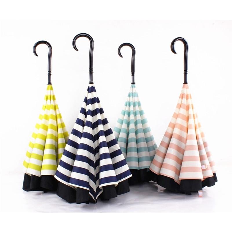 Navy Upside Down Umbrella Fashion Reverse Design Opposite Folding Novelty  Windproof Clear/Rain Long Umbrella Car Umbrellas Women