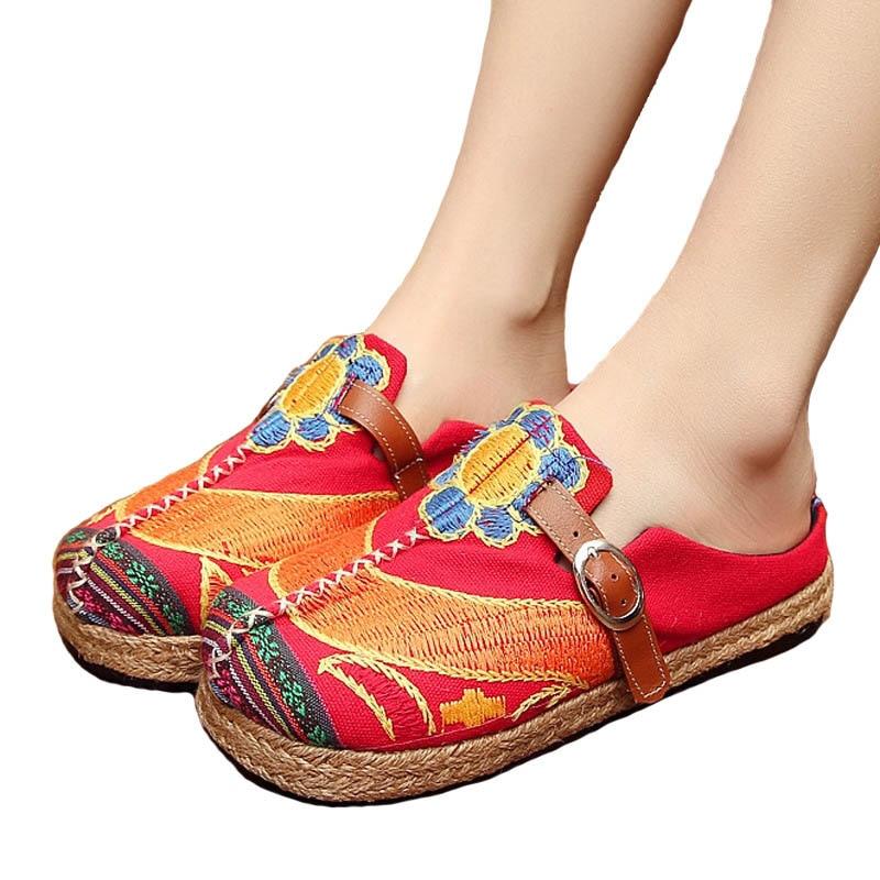 Mujeres de la vendimia Zapatillas de Lino Ocasional de Algodón - Zapatos de mujer - foto 2