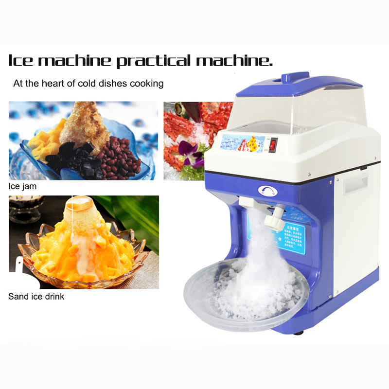 200kg/h Electric Ice Planer Commercial Ice Crusher Automatic Snow Cone Machine Cube Ice Crusher White/Blue 220-240V  50/60Hz