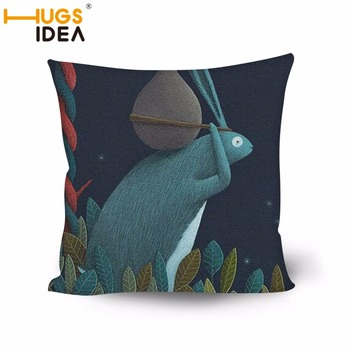 HUGSIDEA Illustration Design Square Pillow Cover Home Sofa Decorative Cushion Cover Cute Pattern Bolster Case Polyester Case image