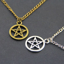 Europe and the United States retro new round five-pointed star necklace alloy pendant jewelry