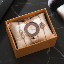 3PCS Womens watches sets with Lovely Smart Bracelet 2019 New designer office lady popular wrist watch hot sale boxes