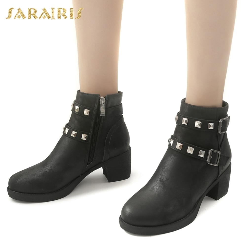e9ab98ec9b Noir Rivets Mode Sarairis Cheville Taille Plus marron gris Femme Hiver  Loisirs Bottes Femmes Nouveau Western 33 Chaussures ...