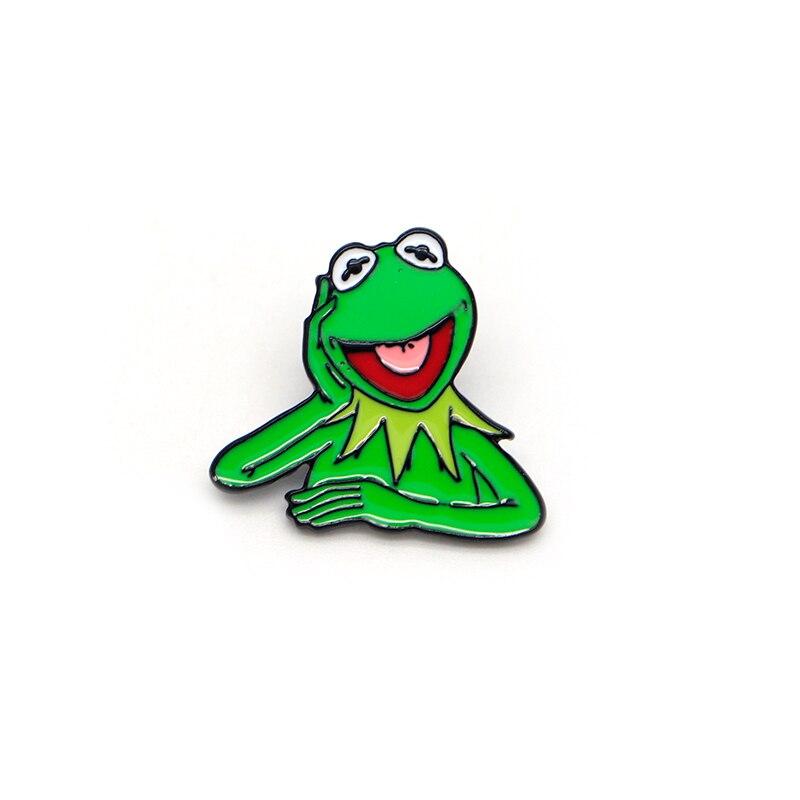 30 pcs/lot dessin animé animaux broches pour femmes Kermit la grenouille émail broches pour enfants épinglette sac broches Badge drôle broche Q1222