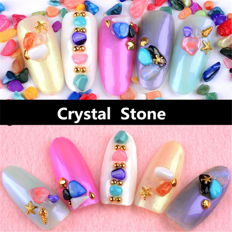 10g Flat Back Rhinestones Natural jade gravel rhinestone Nail art Crystal stone Japanese style Nail Art Slices DIY Decorations free shipping natural stone powder nail decoration nail art packed in a glass bottle 10ml pot it is made of natural stone